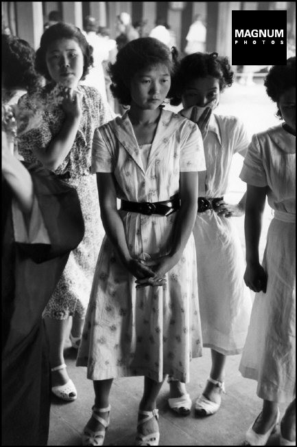 JAPAN. Girl students and young office-workers during an Ikebana lesson. 1951.