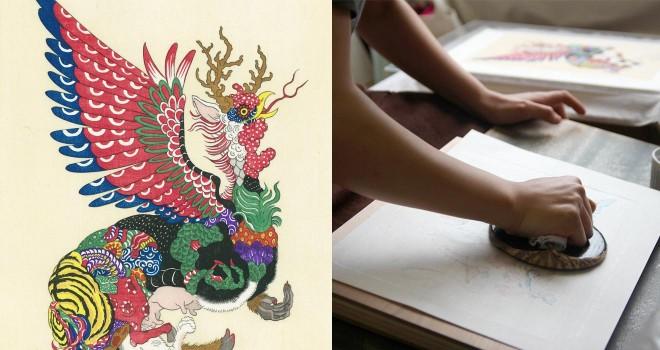 アーティストfeebeeが描く十二支のキメラが浮世絵に!伝統の技を受け継ぐ若き彫師・摺師と初コラボ