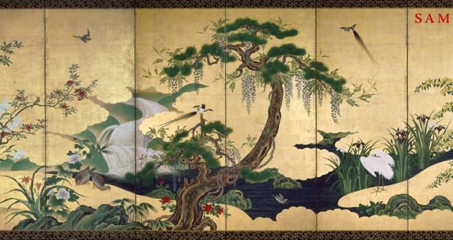 これぞ狩野派の花鳥図!絵師・狩野永納の荘厳で華麗な「春夏花鳥図屏風」が切手になった!