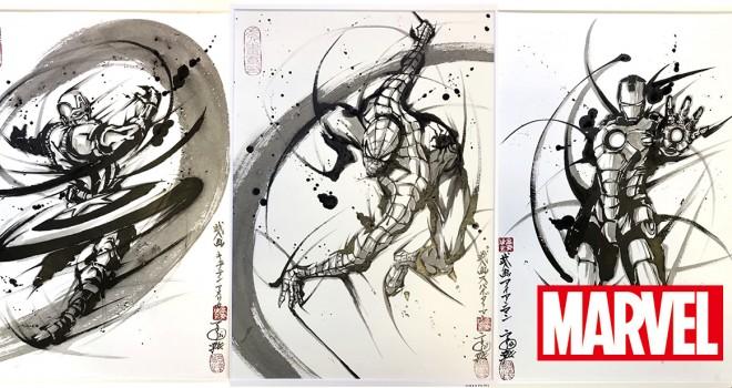 躍動するスパイダーマン!マーベルヒーローが墨汁感溢れる武者絵になって登場