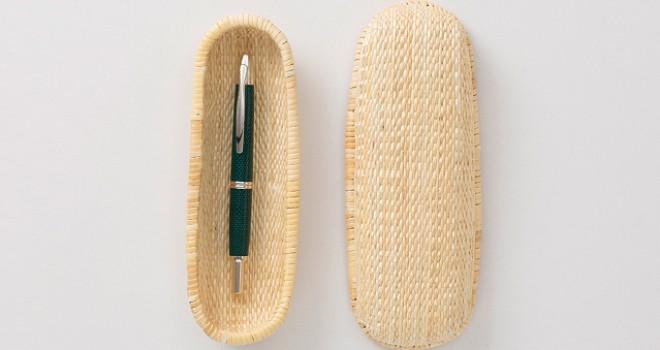 美しさ溢れる丸み、自然素材を使った兵庫・柳行李のペンケースが素敵!