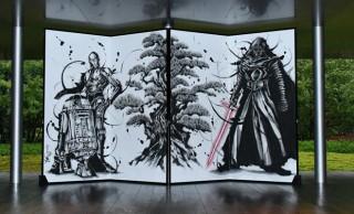 墨汁感たっぷり!迫力満点、スター・ウォーズの武人画屏風が期間限定で公開