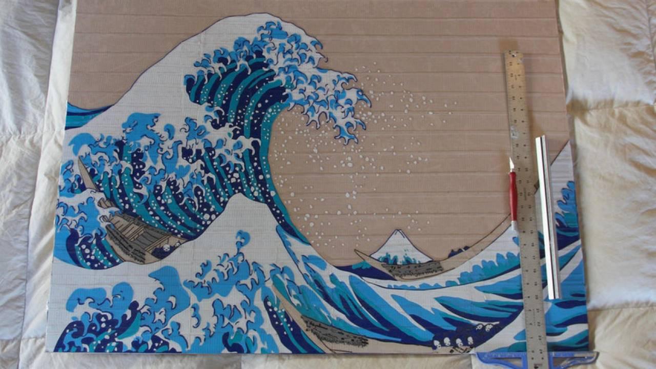 こりゃスゴい!海外発、ダクトテープで作った葛飾北斎「神奈川沖浪裏」のクオリティの高さよ