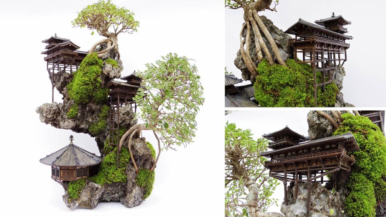 見よこの幻想的景観!そり立つ絶壁の景観を表現した「断崖盆栽」が神秘的!