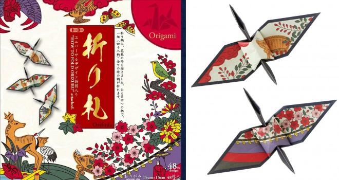 ステキな折り鶴が作れるっ!花札の絵柄を折り紙のデザインに使った「折り札」