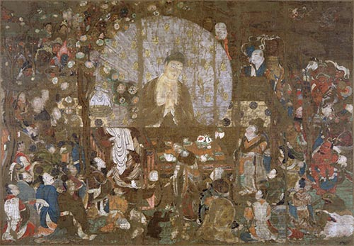 国宝 釈迦金棺出現図 平安時代・11世紀 京都国立博物館蔵   - Japaaan
