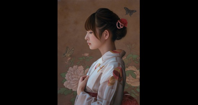 驚異的な写実性!まるで写真のように写実的に描かれた着物の女性の美しさよ!