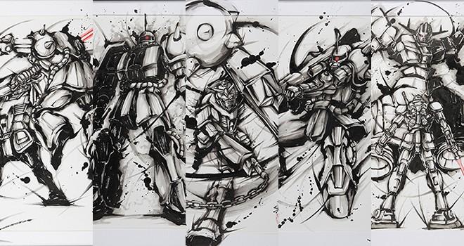 力強く勢いある墨汁感!モビルスーツを水墨画で描く「武人画×機動戦士ガンダム」がカッコイイ