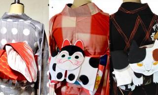 化け猫、狐、犬張り子…piyocaさんによるハンドメイドの着物の帯が可愛すぎる〜っ!