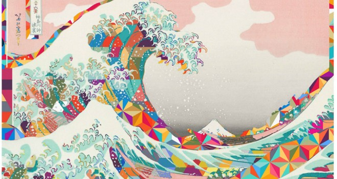 葛飾北斎の人気作品モチーフのサイケなアートグッズneo Hokusaiが
