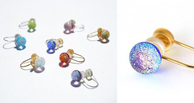 ちはやぶる…百人一首の歌をイメージした京ガラスのイヤリングが素敵!