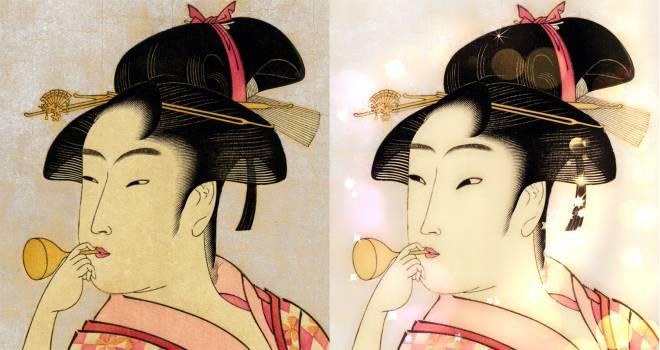 女子たちがよく使ってる写真加工アプリで浮世絵「ポッピンを吹く女」を加工してみる