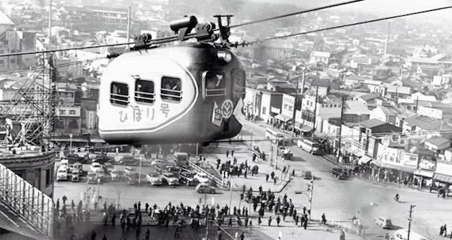 一体何のために?昭和時代、渋谷駅では空中ケーブルカー「ひばり号」が運行されていた