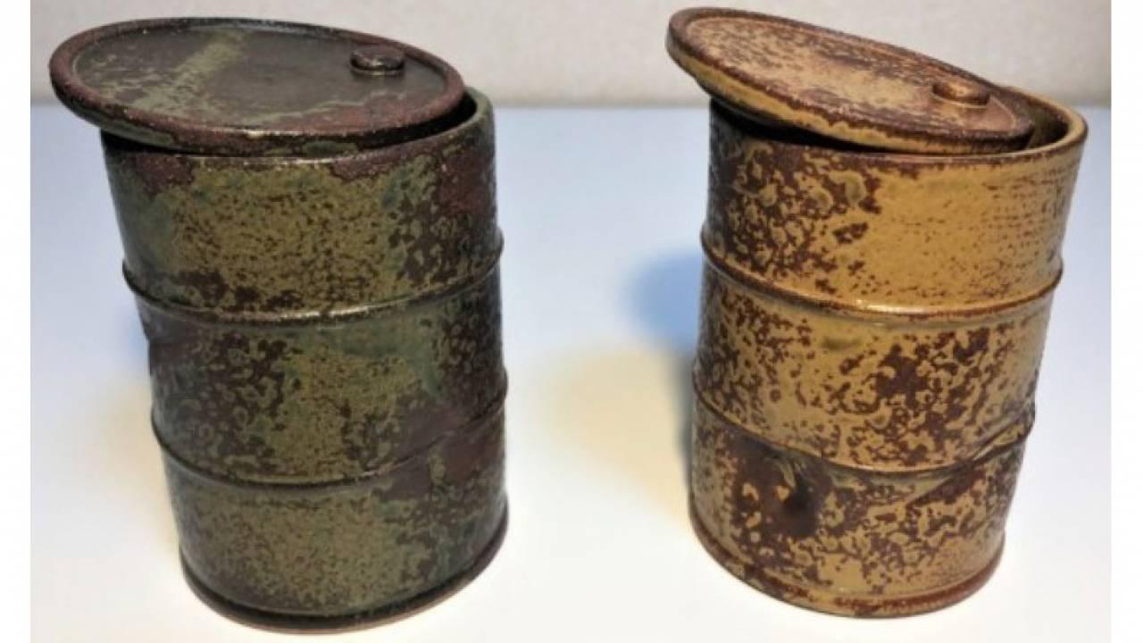 これは侘び錆び感じる!風化したドラム缶を再現した陶器製の湯呑「ドラム缶湯呑 鉄さび」