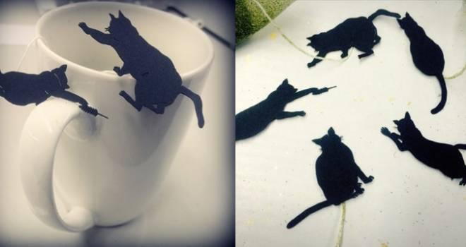 可愛いアイデア♪持ち手の部分が猫のシルエットになった緑茶ティーバッグ「ねこ茶」