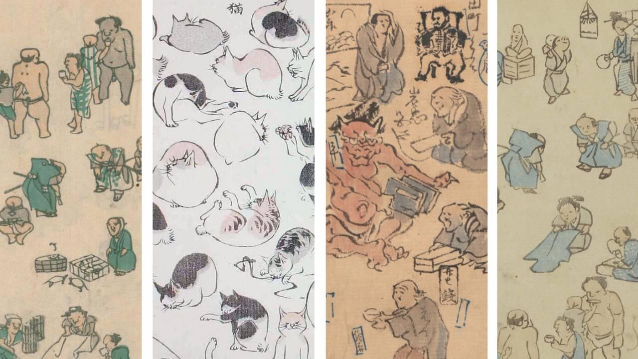 葛飾北斎による指南書から貴重な河鍋暁斎の絵日記まで、人気浮世絵師たちのスケッチ画まとめ!