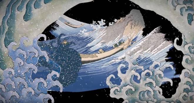 """葛飾北斎が描いた様々な""""水""""を映像の中でつないだアート作品「北斎 水廻り」が壮大で美しい!"""