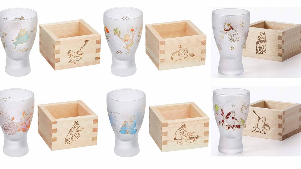 浮世絵に描かれた縁起の良い動物たちが勢揃い!可愛い升酒グラス「LUCKY ANIMALS」