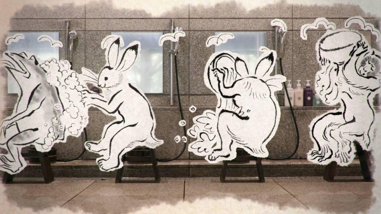 鳥獣戯画の可愛い動物たちが日本の温泉マナーを伝える動画が公開