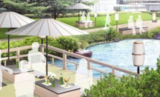 六本木ヒルズ毛利庭園で⽔のせせらぎを眺めて涼む「川床」が愉しめるイベントが開催