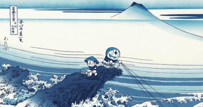 葛飾北斎の傑作モチーフ!ドラえもんが激シブな藍摺りの浮世絵木版画になった!