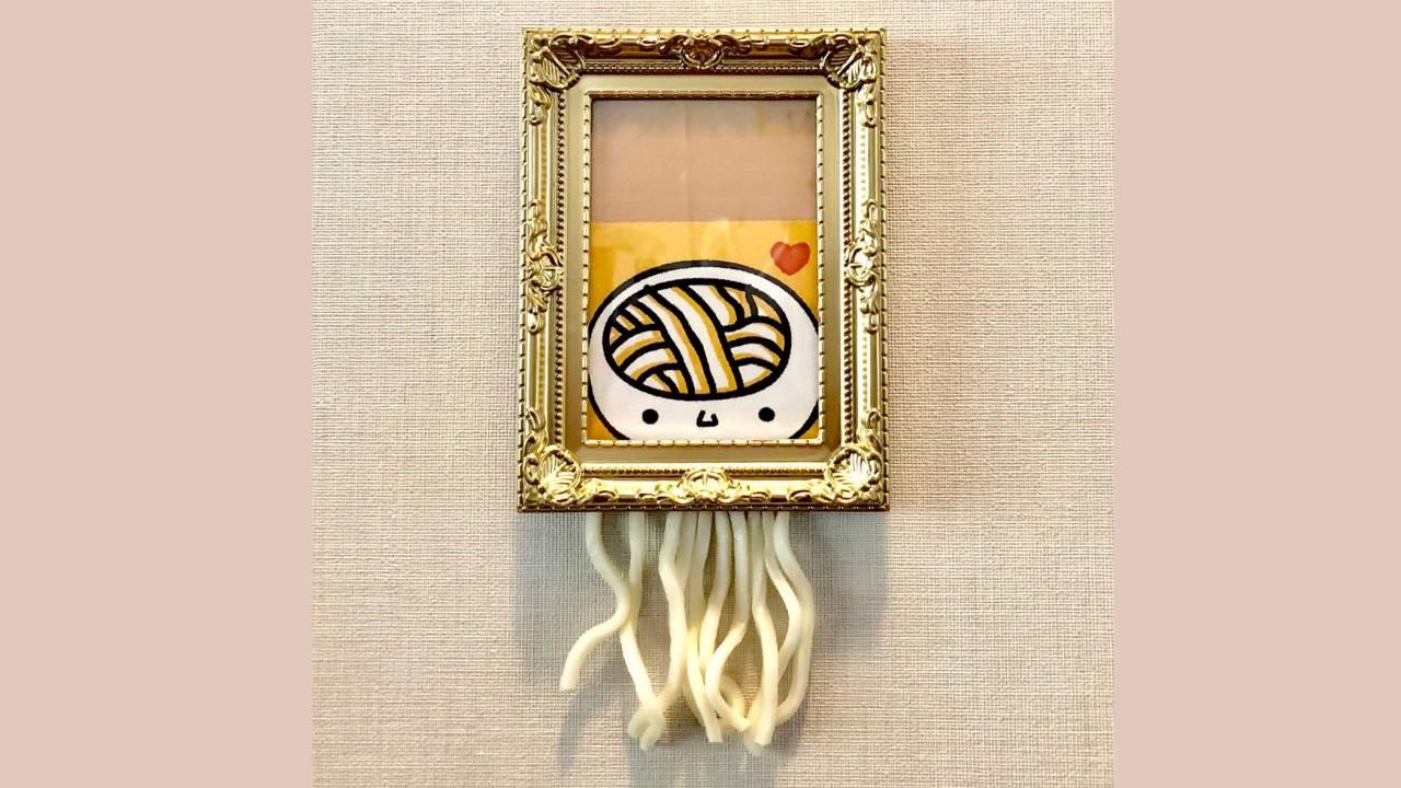香川県たらもう(笑)バンクシーの裁断された絵画をネタにご当地キャラ「うどん脳」がパロディ写真公開!