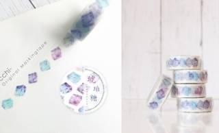 まるで宝石のような和菓子の琥珀糖をデザインしたマスキングテープが素敵!