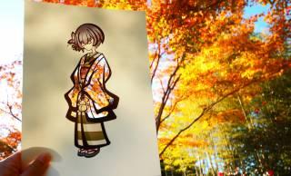 発想の美しさに感動!着物姿の切り絵と紅葉の彩りを融合させた素敵なアート作品!