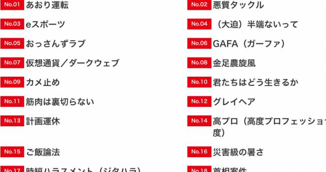 漂う年末感…。毎年恒例「ユーキャン新語・流行語大賞」2018年度ノミネート語が発表!そだねー。
