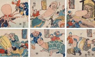 歌川国芳やめぇwww 七福神の福禄寿の頭をネタにした「福禄寿あたまのたわむれ」が最高すぎる!