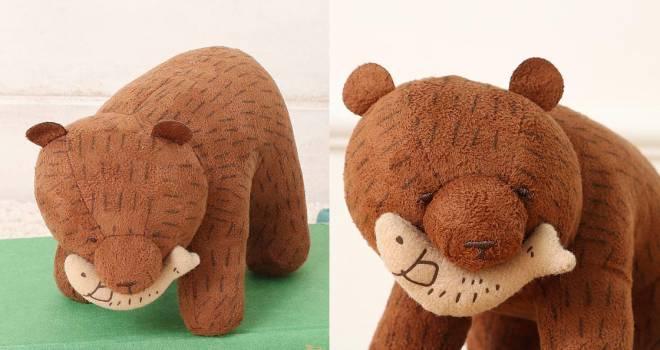 民芸品の木彫り熊が丸っこくキュートに!「木彫りくまぬいぐるみ」が愛らしすぎるよ!