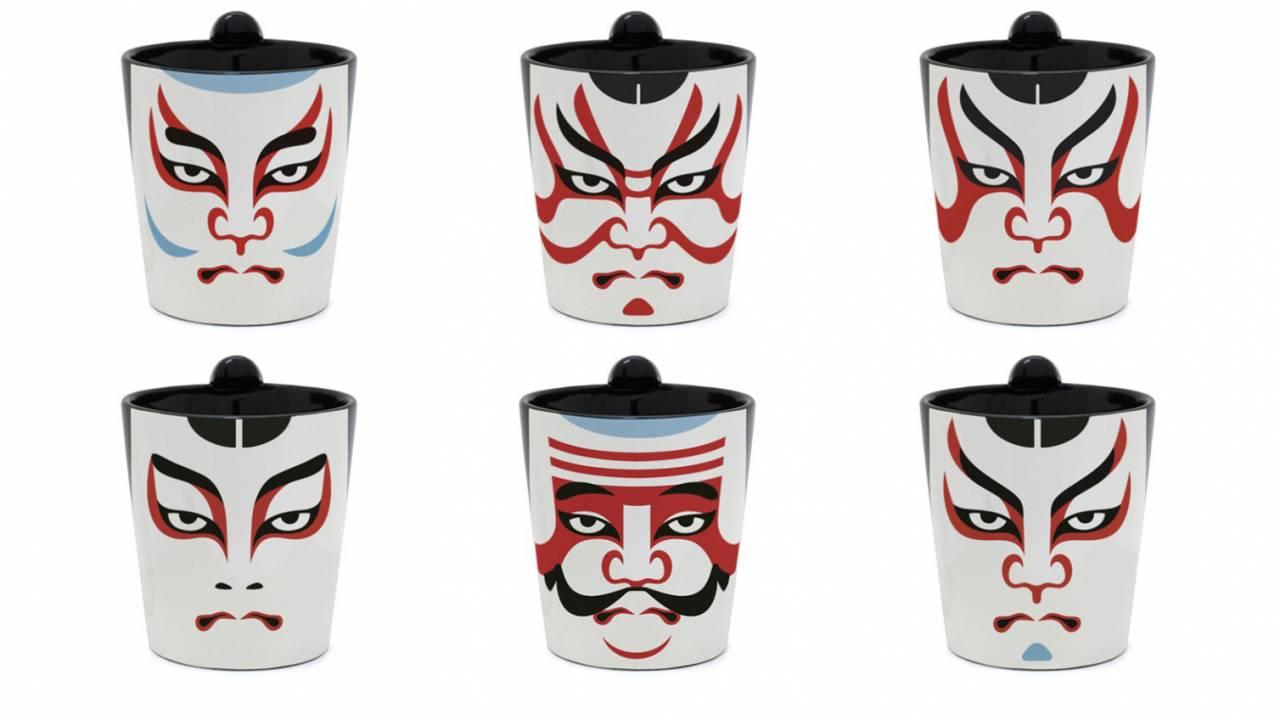 ガン見されて怖いって(笑)歌舞伎の隅取をデザインした「ちょんマグ」。取っ手がちょんまげですw