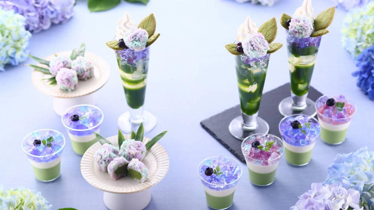この美しさ!雨露に濡れるあじさいをイメージした季節限定「紫陽花パフェ」がステキ!