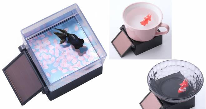 本物の金魚みたいにゆらゆら泳ぐ不思議な「ひかりとみずのカラクリ金魚」に黒出目金バージョン登場!