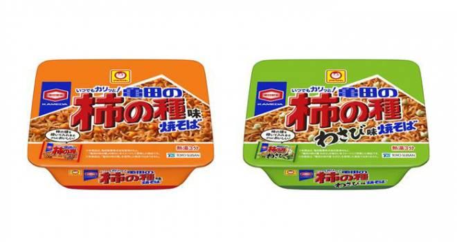 マルちゃんと亀田の柿の種がコラボ!あられの風味を利かせたカップ焼きそば新発売