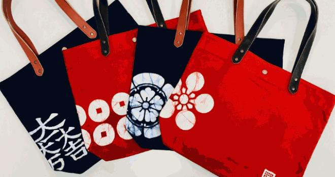 戦国武将の家紋を手描き手染めの蝋纈染めで染め上げた貴重なトートバッグが登場!