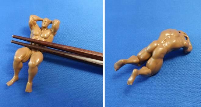 キレッキレだこれwww マッチョなお兄さんが腹直筋でお箸を支える「マッチョ箸置き」に腹筋崩壊(笑)
