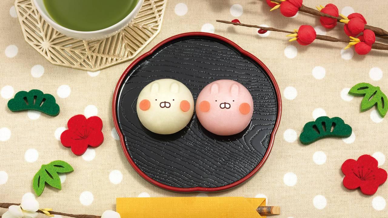 キャーー可愛い♡LINEスタンプで人気「うさまる&うさこ」がおめでたい紅白の和菓子になったよ