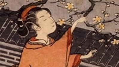 梅の枝折り娘(部分)