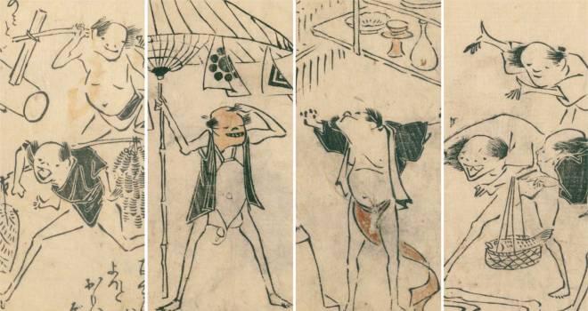 まるでマンガ!江戸時代に描かれた可愛さ溢れるユルユル鳥羽絵「鳥羽絵扇の的」