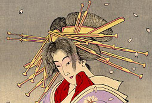 新撰三十六怪撰_小町桜の精(部分)画:月岡芳年