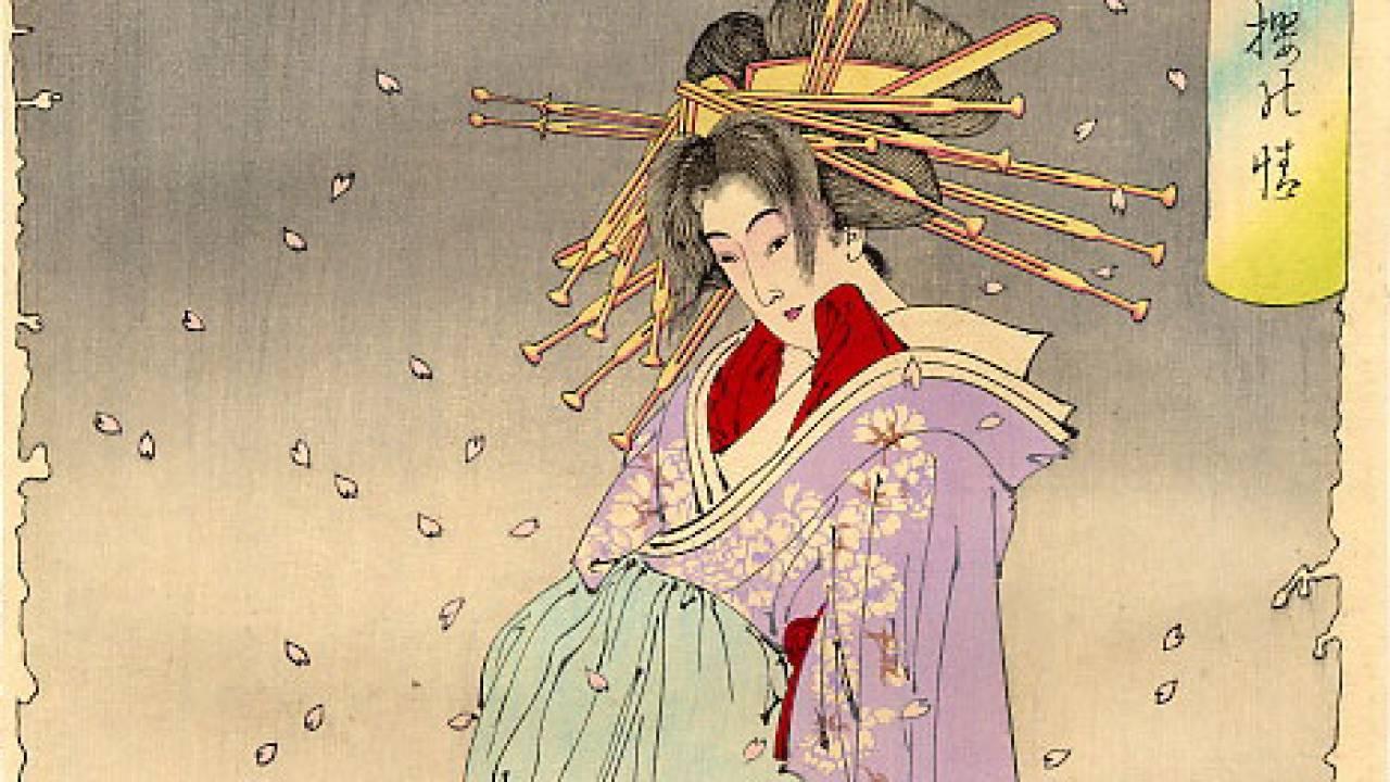 満開の桜の下には・・・最後の浮世絵師・月岡芳年の名作「新形三十六怪撰 小町桜の精」