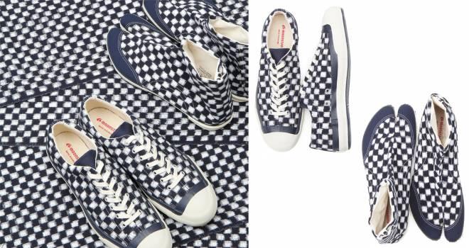 伝統的な綿織物「久留米絣」を使用したスニーカー&地下足袋シューズが登場!