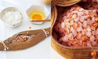 糸引きまで再現!伝統のわら納豆をリアルに再現した「びよ~んと伸びる納豆ペンケース」