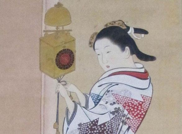 「柱時計美人図」二幅の内の一幅(部分)画:西川祐信 東京国立博物館所蔵(ウィキペディアより)