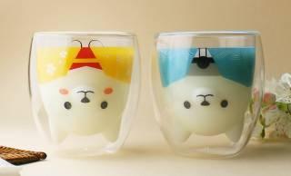 飲み物を注ぐと和服姿の柴犬さんが現れるペアグラスが可愛いよ〜!