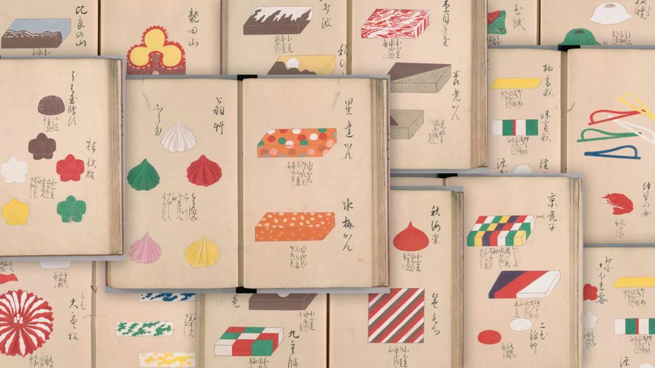 美しい彩りは圧巻!江戸時代の和菓子の見本帳「御菓子雛形」がまるでアート作品のカタログのよう!