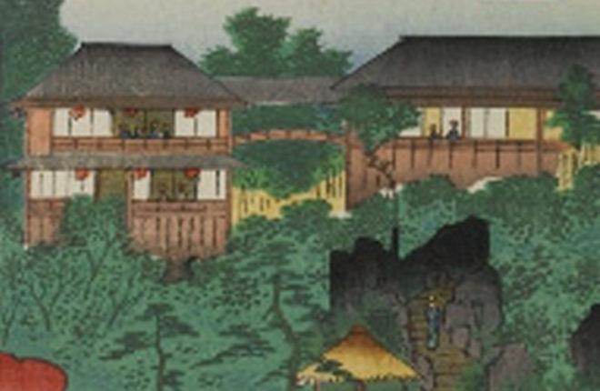 名所江戸百景 千駄木團子坂花屋敷(部分) 画:歌川広重