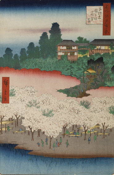 名所江戸百景 千駄木團子坂花屋敷 画:歌川広重 ウィキペディア