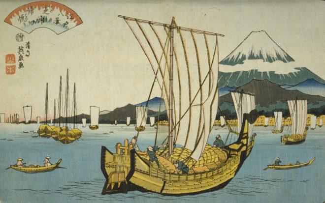 江戸八景 芝浦の帰帆 画:渓斎英泉 国会図書館デジタルコレクション